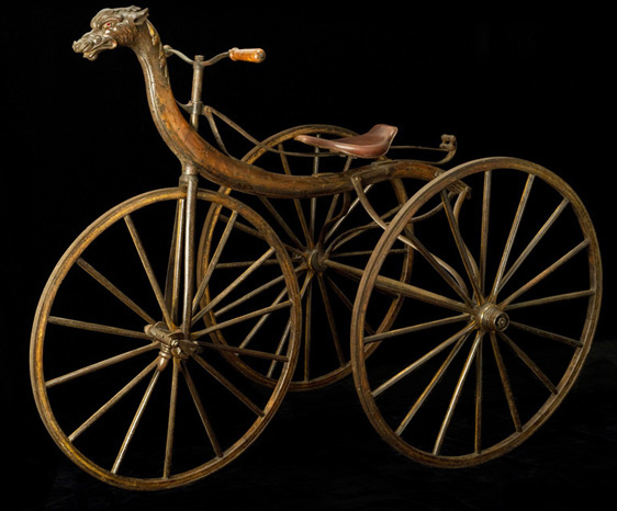 Velocipede Tricycle, 1867-8<br> Michaux & Cie., Paris<br> France<p>  This spectacular carved Chinese dragon velocipede, manufactured by the most important maker of velocipedes, was featured at the first bicycle history exhibition: the Exposition Rétrospective du Cycle at the Grand Palais in Paris, 1907.