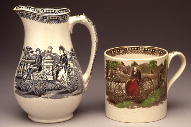 Pitcher & Mug, ca. 1869<br> Treadle-drive Tricycle<br> Pottery, transfer prints<br> England