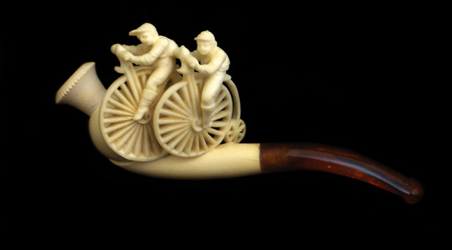 Cigarette Holder Bicycle Race, ca. 1885<br> Meerschaum, (a soft white mineral)<br> Germany